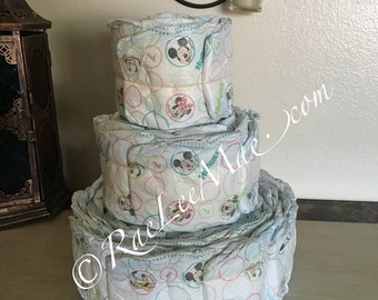 DIY Undecorated 3 tier diapercake/3-tier diaper cake/Do-it-yourself diapercake baby shower decorations/baby shower diaper cake