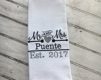 Personalized Kitchen Towel, Wedding Gift, Dish Towel, Kitchen Towels