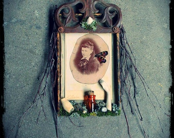 Fae Assemblage Imaginary Ancestor 19th Century French Photo With Found And Natural Objects