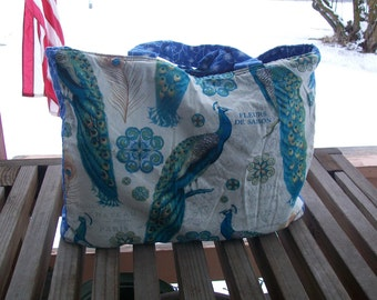 Tote Bag French Peacocks Reusable Grocery Bag Ready To Ship Shopping Tote