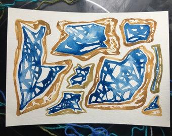 Watercolor Gems, 8x11, Original Art, blue, brown
