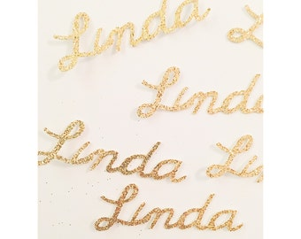 Custom Name confetti, birthday name confetti, glitter cursive name confetti, 30th birthday, 40th, 50th, 1st birthday- Up to 8 letters