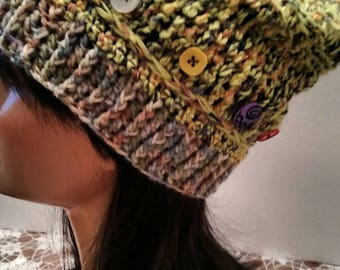 Cute Womens Semi  Slouchy Hat Green Yarn And Ribbon. Crocheted  Hat Finished With Multi Buttons