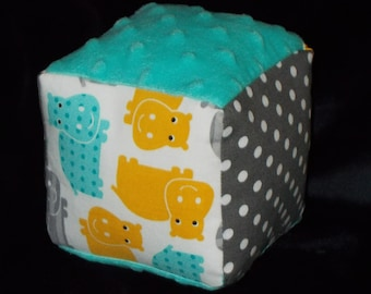 Hippos Fabric and Chenille Boutique Block Rattle
