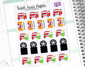 Car Maintenance Planner Stickers - Car Wash - Tire Rotation - Oil Chnage - Calendar Stickers - 070