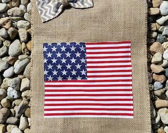 American Flag / Burlap Garden Flag / Patriotic Flag / Red White Blue Flag / July 4th Flag / Memorial Day Flag / Summer Flag / Summer Burlap