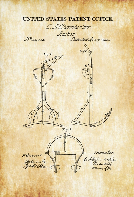 Old Anchor Patent 1864 Ship Vintage