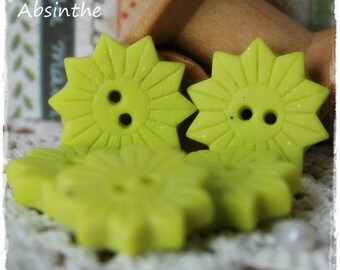 -Polymer clay - Wasabi stoneware - set of 5 button-