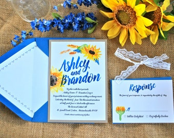 Wedding invitations blue and yellow | Etsy