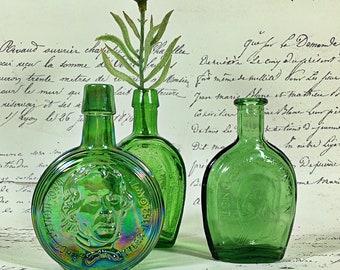 Vintage Wheaton Glass Miniature President Bottles, Bud Vase, Historical Collectible  Green Glass horseshoe Franklin Tyler bitters