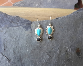 No. 114 Castle Dome Turquoise with Onyx Drop  Earrings
