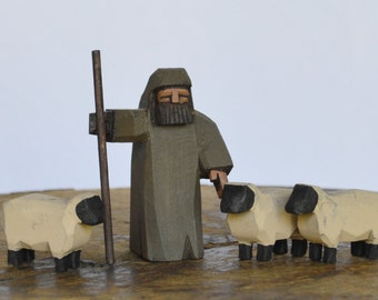 Shepherd and sheep for Nativity Creche Stable
