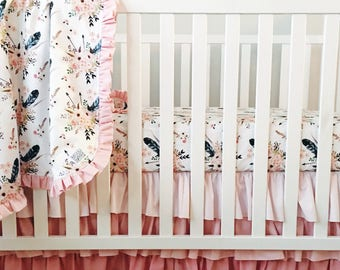 Boho Crib Bedding. Feather Crib Sheet. Baby Girl Bedding. Ruffled Crib Skirt. Ombre Crib Skirt. Boho Crib Sheet. Bumperless Crib Bedding.