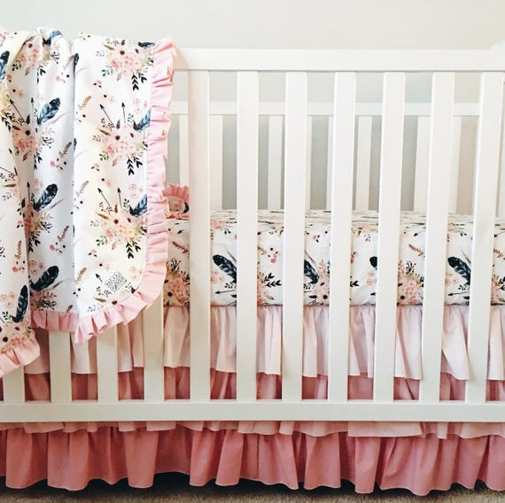 Boho Crib Bedding Feather Crib Sheet Baby Girl Bedding