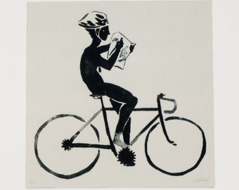 Bicycle screenprint, 30 x 30