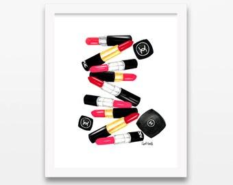 Mac Lipstick & Chanel Watercolor Print | Wall Art, Fashion Drawing, Pencil Illustration, Color Makeup Photo, Coco Chanel, Mac Cosmetics