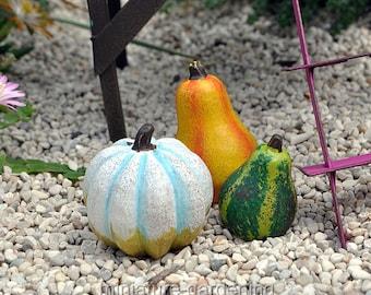 Autumn Gourds, Set of 3 for Miniature Garden, Fairy Garden