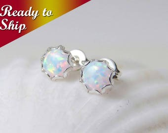 READY TO SHIP ~ Small Opal Earrings ~ Sterling Silver Opal Stud ~ October Birthday ~ Bridesmaid Gift ~ Gift for Her ~ Simple Everyday