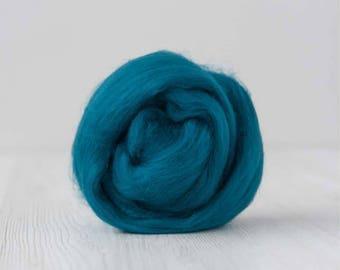 Extra fine Merino wool roving, Teal, 19 micron, 100 grams/3.5 oz.