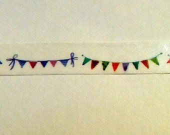 Slim Bunting Washi Tape. Flags Washi Tape. 8mm by 10m. Planner Tape. Scrapbook, Journal, Masking Tape.