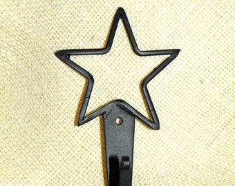 Metal Star Black Rod Iron Hook, 5 Inch, Great for Coat Rack, Foyer, Mudroom, Bathroom Towel Hooks, Pool Towels