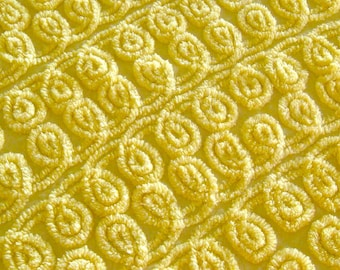 Lemony Swirls Vintage Chenille Bedspread Fabric