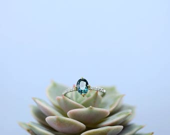 Oval Sapphire Engagement Ring | 1.26 carat Oval Montana Sapphire Engagement Ring | Blue Green Sapphire Ring | Green Blue Montana Sapphire