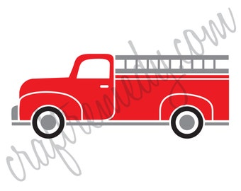 Instant Download Vintage Red Fire Truck Digital Print for Pillow Iron on