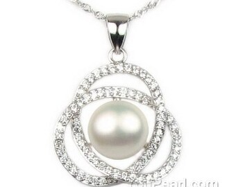 White pearl pendant, shinning crystal pearl pendant, freshwater pearl pendant, 925 sterling silver pearl necklace, 10-11mm, F2910-WP