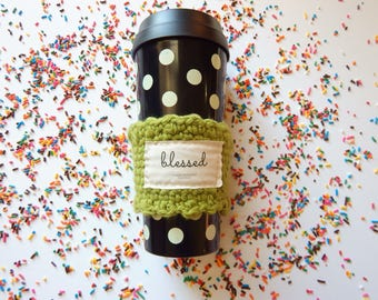 Apple green coffee cup cozy choose joy & blessed, teacher christmas gifts for women, Cute Christmas gifts for her under 20, tumbler sleeve