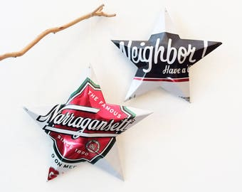 The Famous Narragansett Lager  Beer Stars Ornaments Aluminum Can Upcycled