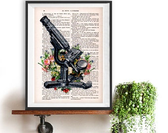 Antique microscope print,cimestry, laboratory, vintage science, flower print, wall art, vintage print on recycled paper, retro art