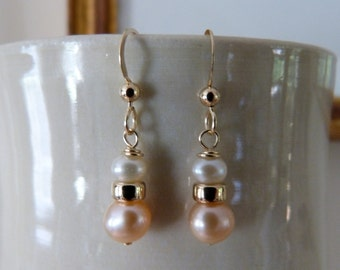 Peach and white freshwater pearl 14k gold fill earrings.