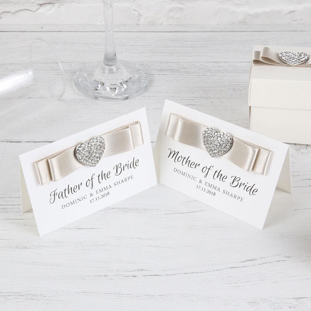 Heart Place Card Diamante Heart Name Settings Wedding