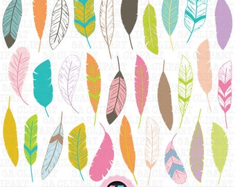 """Feather Clipart """" FEATHER """"clip art pack,Tribal Feathers ClipArt,Feather,Pastel Feather,Feather Pattern,Hand Draw, Instant Download Trb007"""