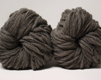 Thick and Thin Yarn Handspun Charcoal Grey Shetland Wool Slub  tts(tm) Half-Pounder Super Bulky