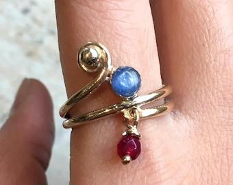Mothers ring, Gold Filled ring, birthstones ring, family ring, Kynite garnet customised ring, family ring, multistone - Family time R2501