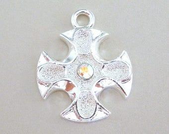 "Iron Cross pendant, AB Swarovski crystal, 25mm tall x 20mm wide (1"" x 3/4""), religious charm, inspirational jewelry supplies"
