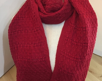 Handwoven red merino tencel scarf lace