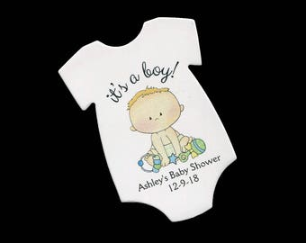 Baby Shower Favor Tags - Baby Boy Tags - Thank You Tag - Personalized - Baby Boy Shower - Baby Shower Tag - Die Cut Tags