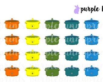 Rainbow Slow Cooker Icons // Planner Stickers!