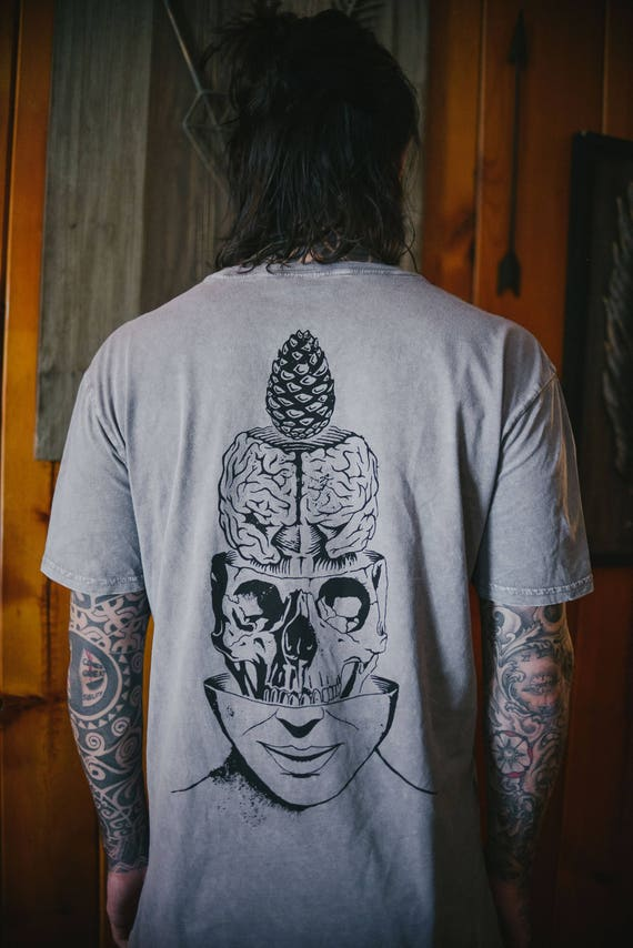 FREE SHIPPING Skull Pineal Gland Psy Trance Screen Print T Shirt Brain Anatomy Third Eye Psychedelic Clothing Third Eye Pinecone Burning Man