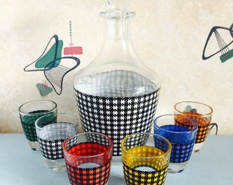 1960s - French - Dogtooth - Glass - Decanter - Six Shot Glasses
