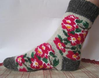 Summer discount Charming Knit pattern Sakura (Japanese cherry) Eco Friendly socks Beautiful form of quality Angora wool US-8-9 Soft and warm