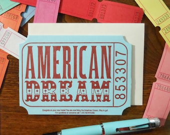 letterpress american dream ticket new home greeting card blue red cream raffle carnival ticket
