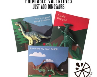 Dinosaur Valentine Card Kids Printable INSTANT DOWNLOAD PDF