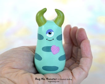 Handmade Monster Figurine, Turquoise, Teal, Green, Orchid Miniature Sculpture, Hug Me Monster, Good Luck Monster Charm, Personalized Tag