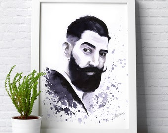 Personalised portrait painting illustration made with ink