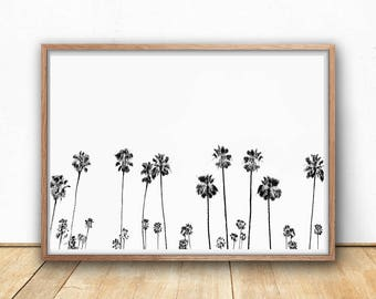 Palm Trees, Digital Download, Printable Wall Art, Digital Prints, Tropical, Black And White, Photography, Minimalist, Boho, Home Decor