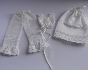 Dollhouse Miniature 1/12th white cotton and lace victorian underwear/lingerie/clothing set, bloomers, camisole & petticoat